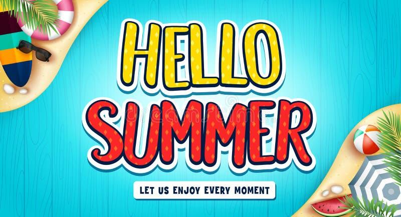 你好与冲浪板、海滩球、西瓜和太阳镜的夏天横幅 向量例证