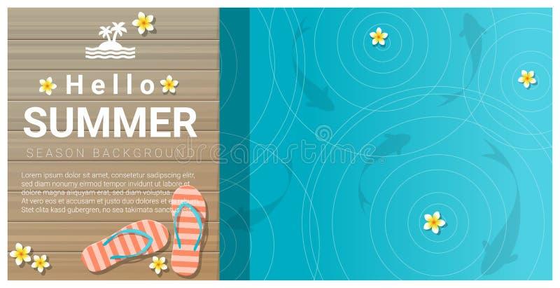你好与凉鞋的夏天背景在木码头 皇族释放例证