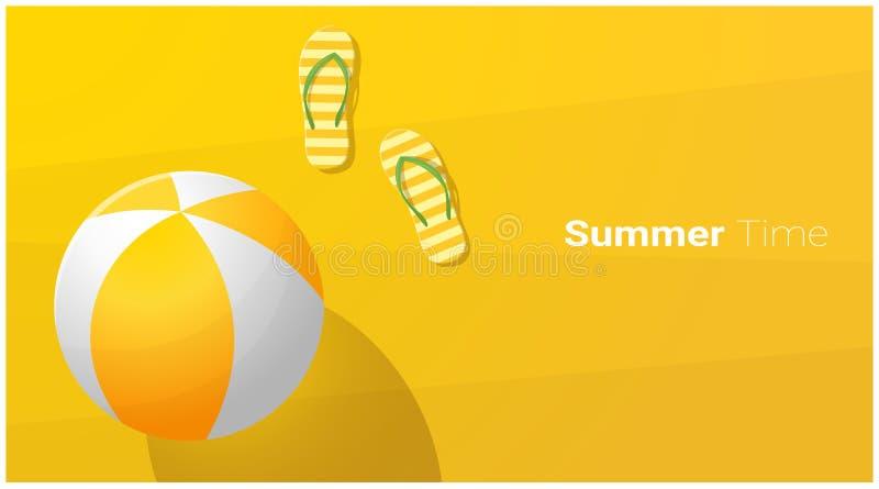 你好与凉鞋的夏季背景和在热带海滩的海滩球 皇族释放例证