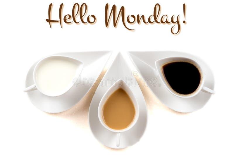 你好与咖啡杯的星期一概念 免版税库存照片