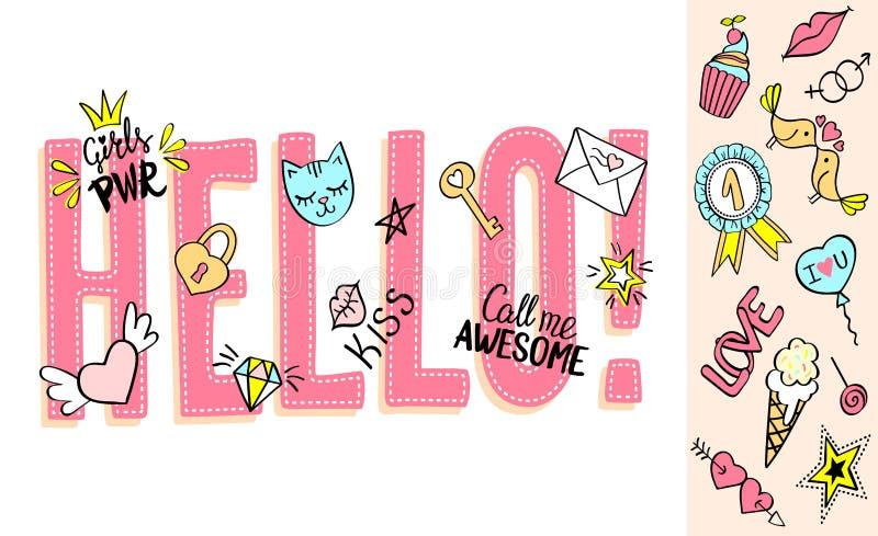 你好与娘儿们乱画和手拉的词组的字法情人节卡片设计的,女孩` s T恤杉印刷品 皇族释放例证
