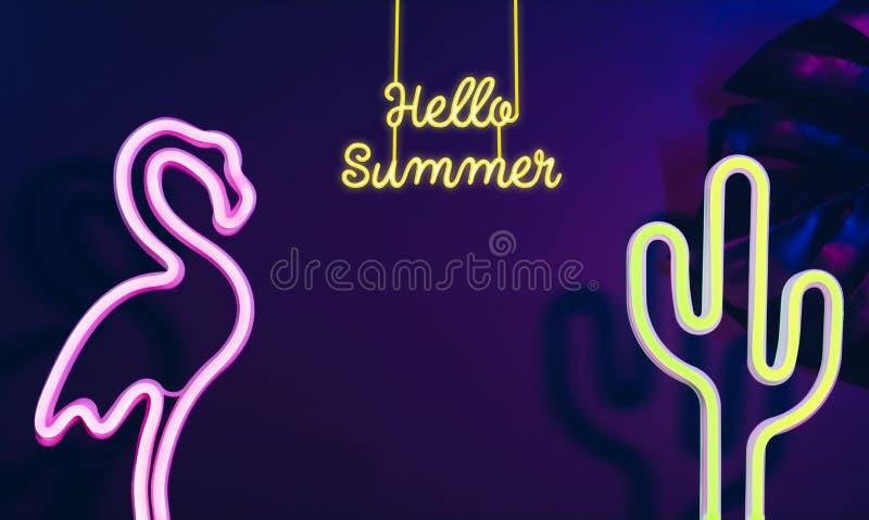 你好与桃红色火鸟、仙人掌和monstera叶子的夏天有霓虹桃红色和蓝色光的 假期空间的横幅嘲笑增加的 图库摄影