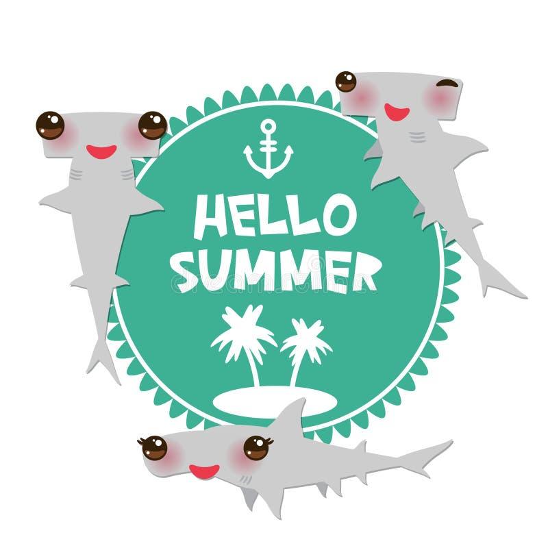 你好与桃红色面颊和闪光的夏天动画片灰色光滑的双髻鲛Winghead鲨鱼Kawaii注视微笑 圆的卡片设计, ba 皇族释放例证