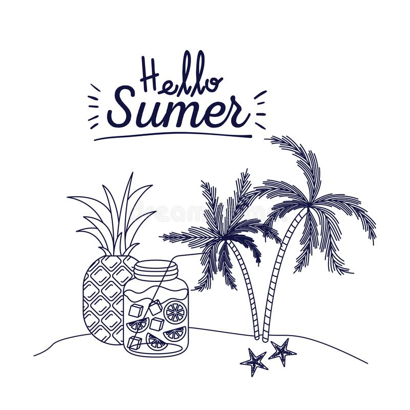 你好与棕榈树风景的夏天蓝色剪影海报用菠萝果子和柑橘喝瓶图片