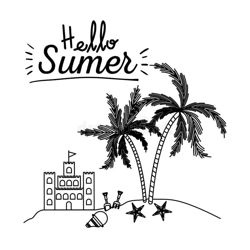 你好与沙堡和海岛的夏天单色海报有棕榈树的.图片