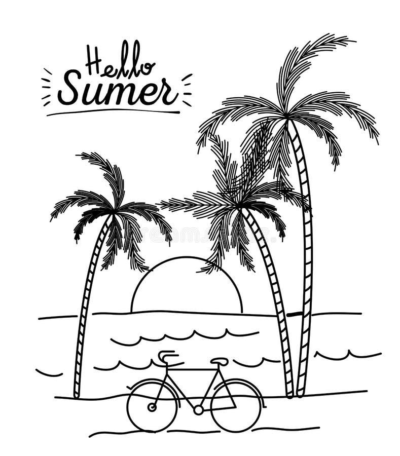 你好与海风景和日落的夏天单色海报在棕榈树之间.图片