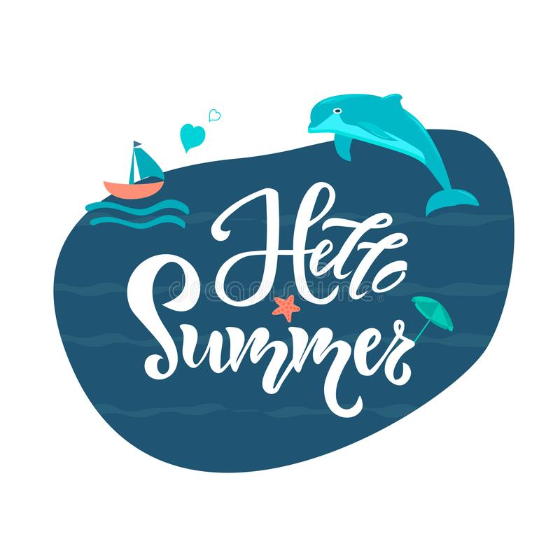 你好与跳跃的海豚、小船和海星的夏天卡片在抽象波浪背景 邀请的,横幅设计 库存例证