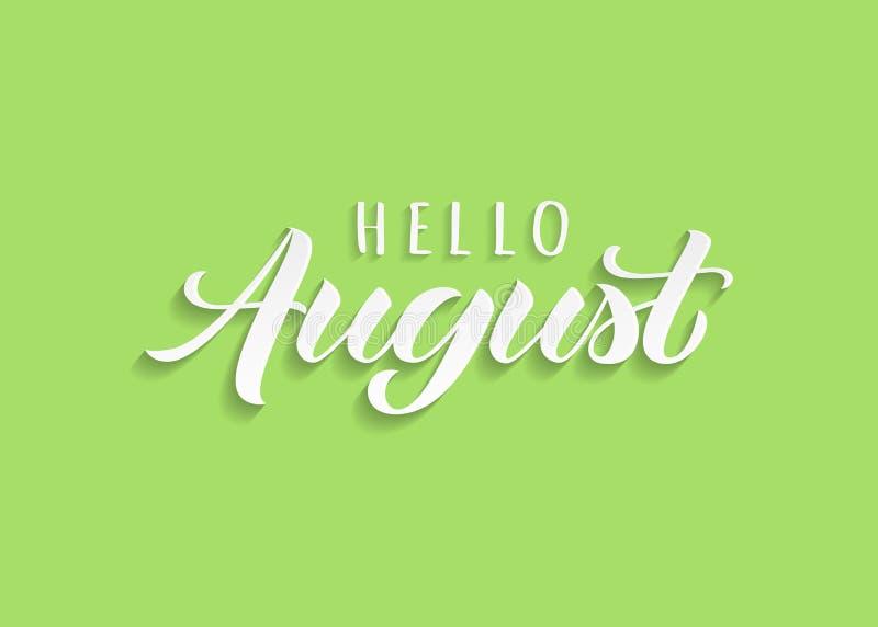 你好与阴影的8月手拉的字法 激动人心的冬天行情 向量例证