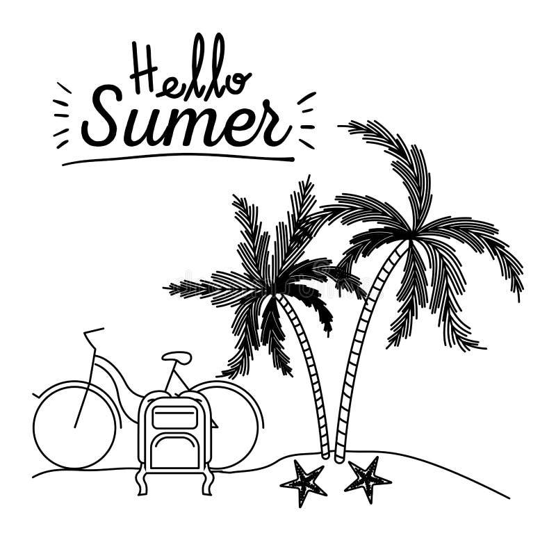 你好与风景的夏天单色海报在与自行车和行李的海滩在棕榈树旁边.图片