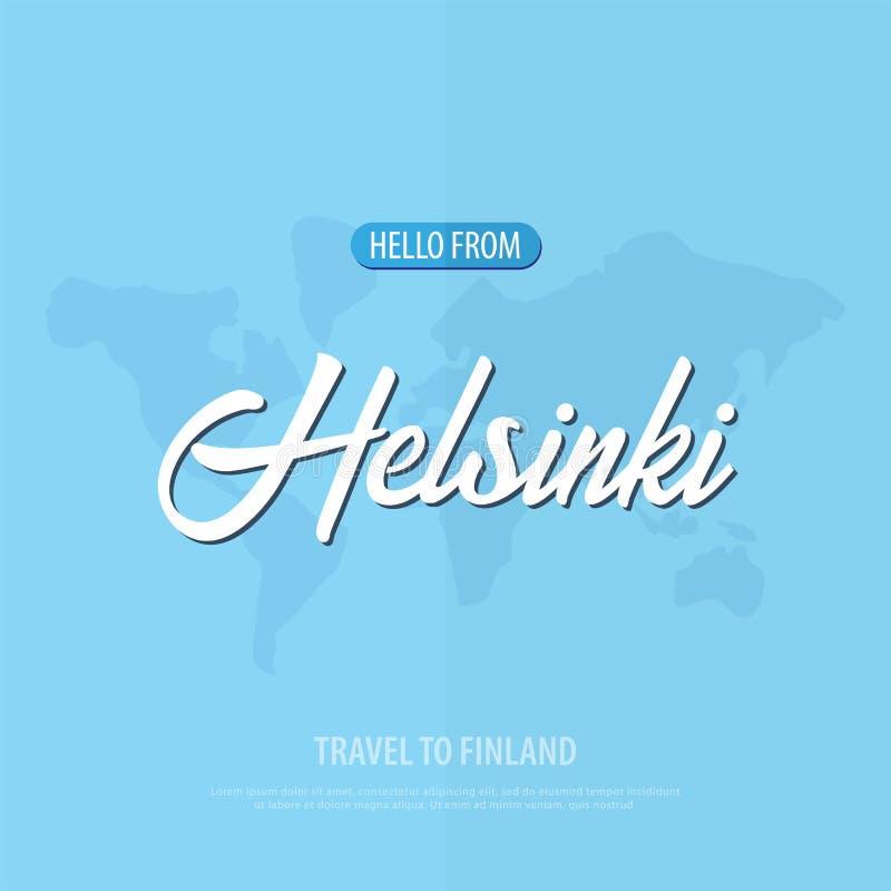 你好从赫尔辛基 旅行向芬兰 旅游贺卡 也corel凹道例证向量 向量例证