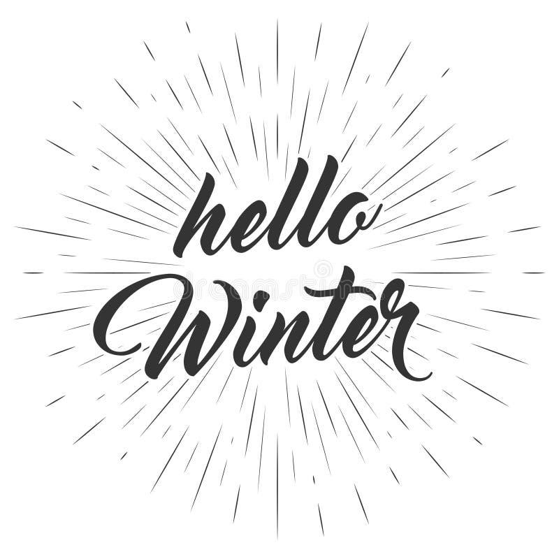 你好冬天文本 在逗人喜爱的背景的手字法 传染媒介与习惯书法的卡片设计 库存例证