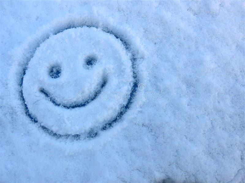 你好冬天!雪和冰和一张滑稽的面孔在冻玻璃窗反对天空蔚蓝 库存图片