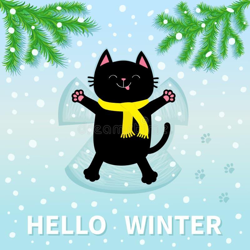 你好冬天 放置的恶意嘘声  做雪天使 库存例证