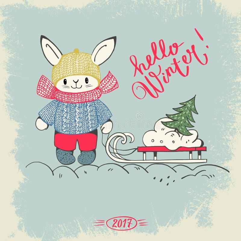 Download 你好冬天! 向量例证. 插画 包括有 愉快, 字体, 设计, 动画片, 钞票, 手写, 艺术, 信函, 兔宝宝 - 77846812