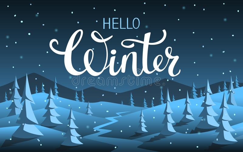 你好冬天xmas圣诞节新年好季节性夜背景 库存例证