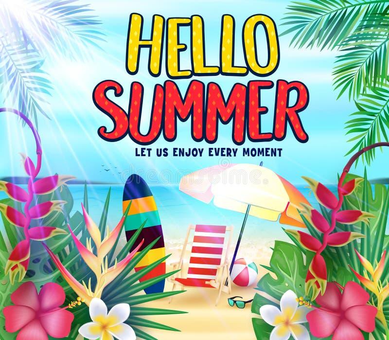 你好在海滨的夏天让我们享用与热带叶子,花,冲浪板的每张片刻海报 库存例证