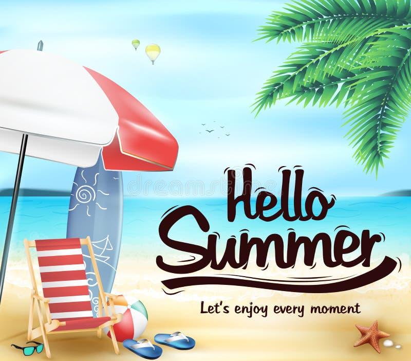 你好在海滩胜地的夏天与椅子 皇族释放例证