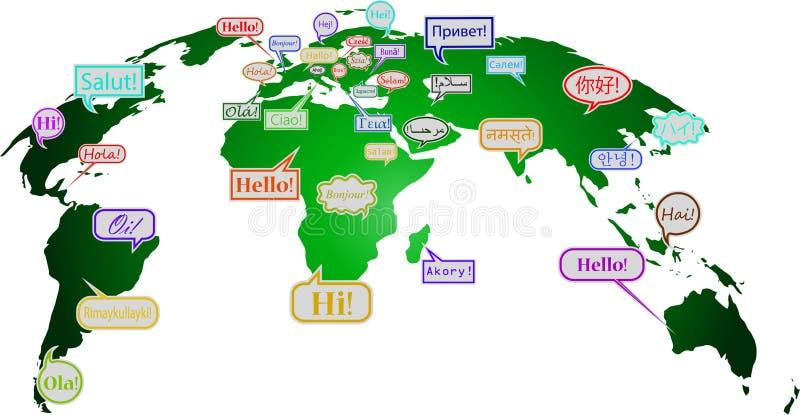 你好在许多语言 皇族释放例证