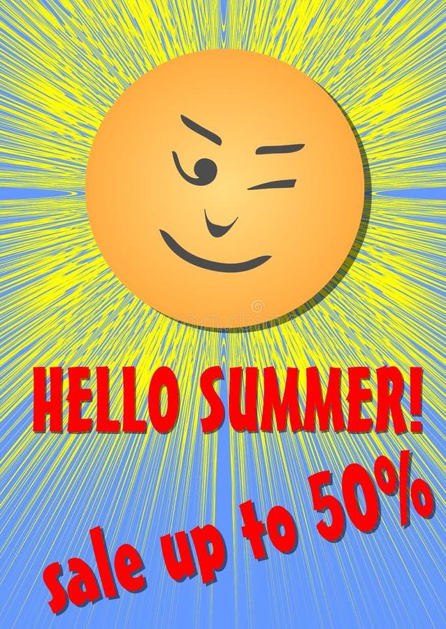 你好夏天、销售或者折扣飞行物,与emotikon面孔的快乐的太阳 库存例证