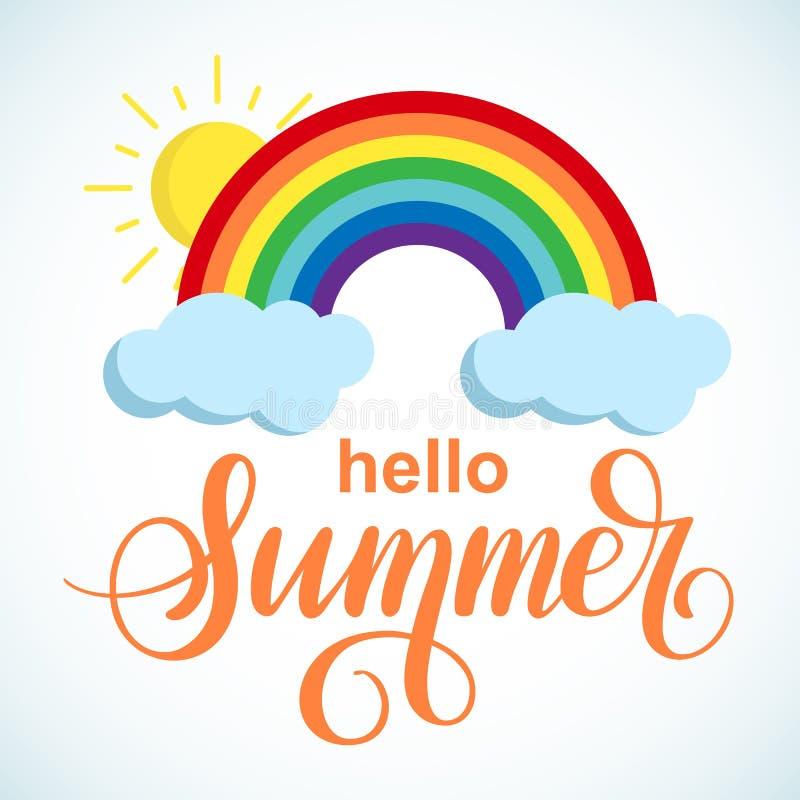 你好夏天与太阳和彩虹的传染媒介横幅 库存图片