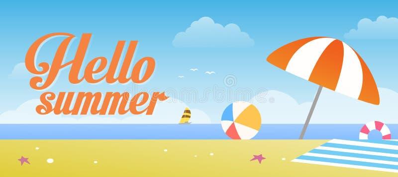 你好夏天传染媒介例证有热带海滩和蓝天背景 皇族释放例证