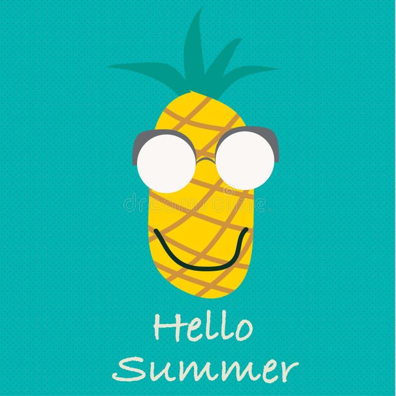 你好夏天传染媒介 菠萝果子 向量例证
