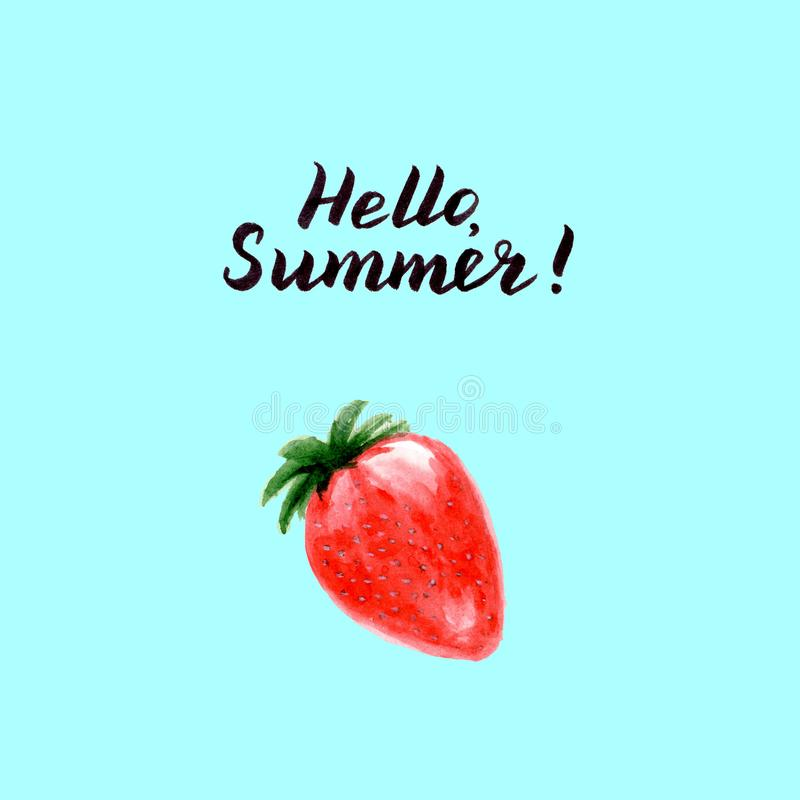 你好夏天卡片用水彩草莓 皇族释放例证