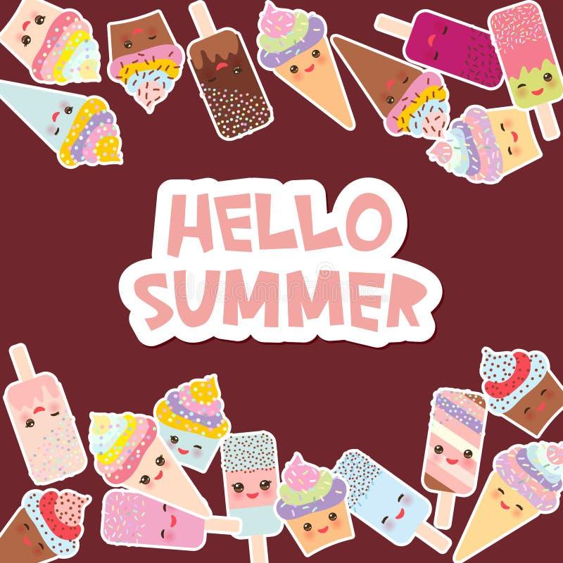你好夏天您的文本的卡片设计 与奶油、冰淇凌在奶蛋烘饼锥体,冰棍Kawaii与桃红色面颊和闪光的杯形蛋糕 向量例证