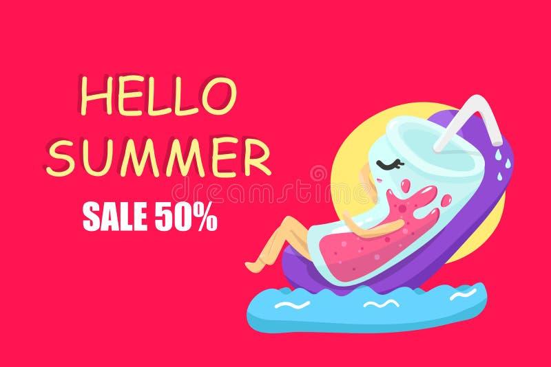 你好夏天推销,玻璃字符动画片放松的假期季节性假日,五颜六色的背景传染媒介例证 向量例证