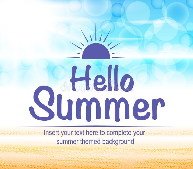 你好夏天文本有美好和五颜六色的海景摘要背景 库存例证