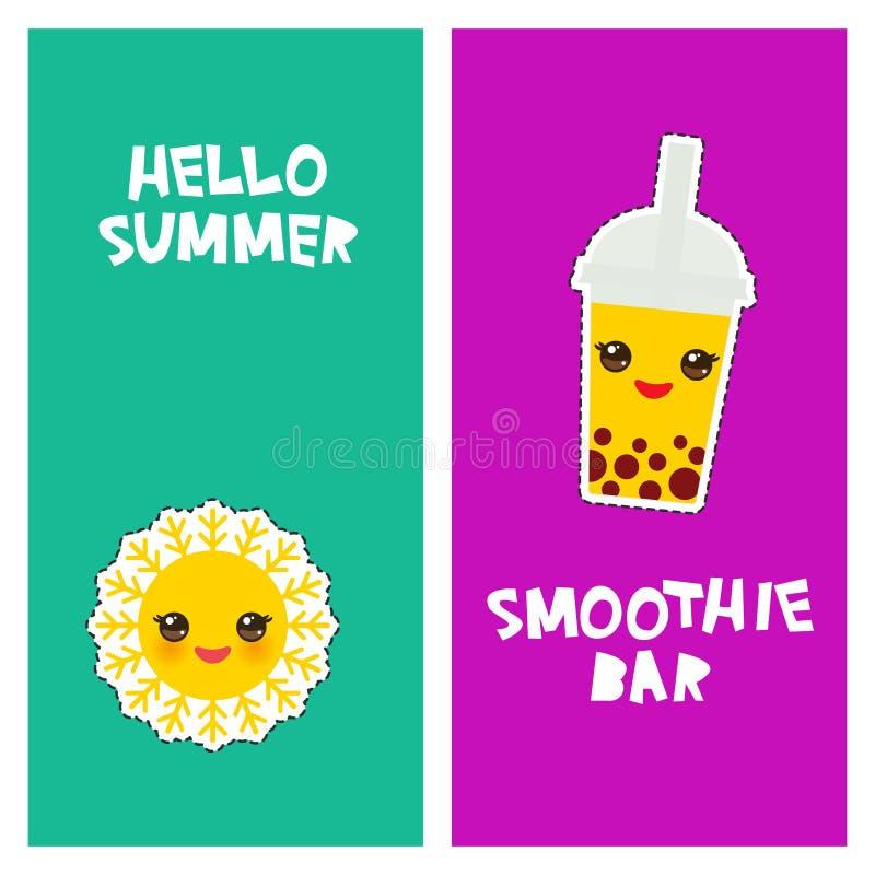 你好夏天明亮的热带卡片横幅设计,时尚补丁徽章贴纸 泡影茶,太阳 Kawaii逗人喜爱的面孔 补花 向量例证