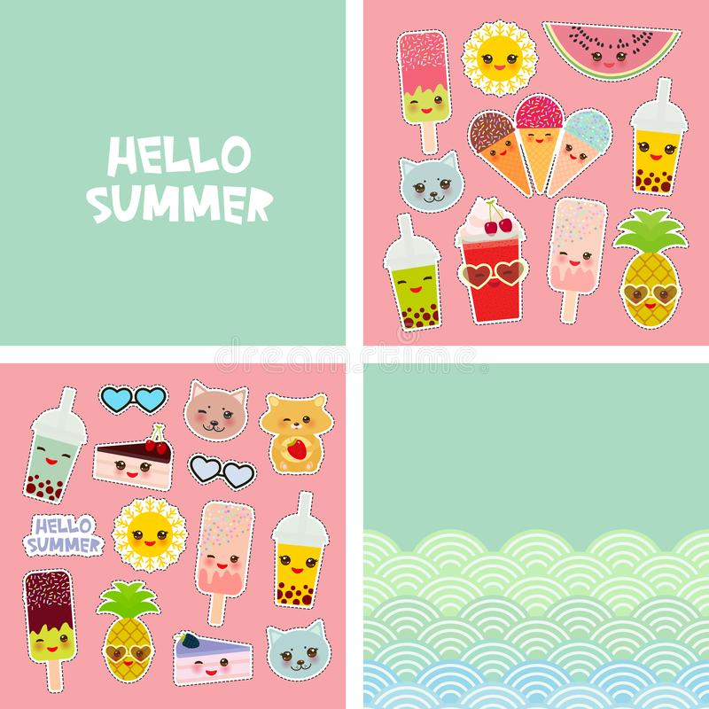 你好夏天明亮的热带卡片横幅设计,时尚补丁徽章贴纸 猫菠萝,圆滑的人杯子,冰淇淋,泡影 库存例证