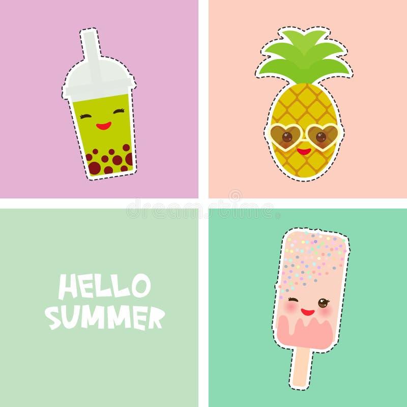 你好夏天明亮的热带卡片横幅设计,时尚补丁徽章贴纸 菠萝,圆滑的人杯子,冰淇淋,泡影茶 皇族释放例证
