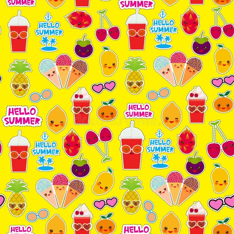 你好夏天明亮的热带无缝的样式,时尚补丁徽章贴纸 异乎寻常的果子,菠萝,樱桃圆滑的人杯子,冰 皇族释放例证
