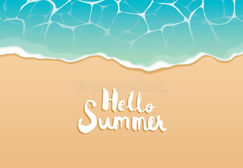 你好夏天海滩顶视图旅行和假期背景 横幅模板、贺卡、邀请、海和沙子的用途 皇族释放例证