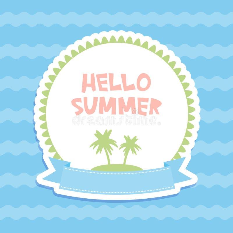 你好夏天淡色卡片设计,横幅模板丝带蓝色的棕榈群岛挥动海海洋背景,白色绿色桃红色 v 库存例证