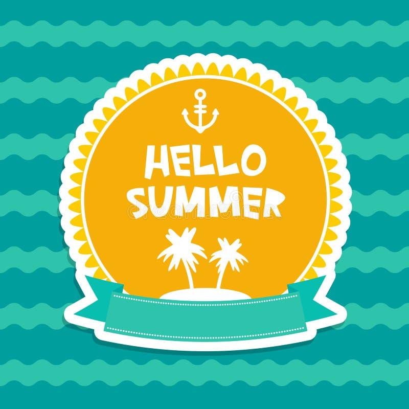 你好夏天淡色卡片设计,横幅模板丝带蓝色的棕榈群岛挥动海海洋背景,白色绿色桔子 皇族释放例证