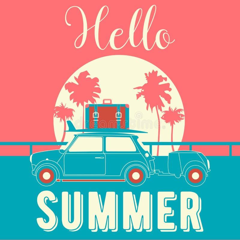 你好夏天葡萄酒样式横幅 与减速火箭的汽车和棕榈树的热带假期背景 库存例证