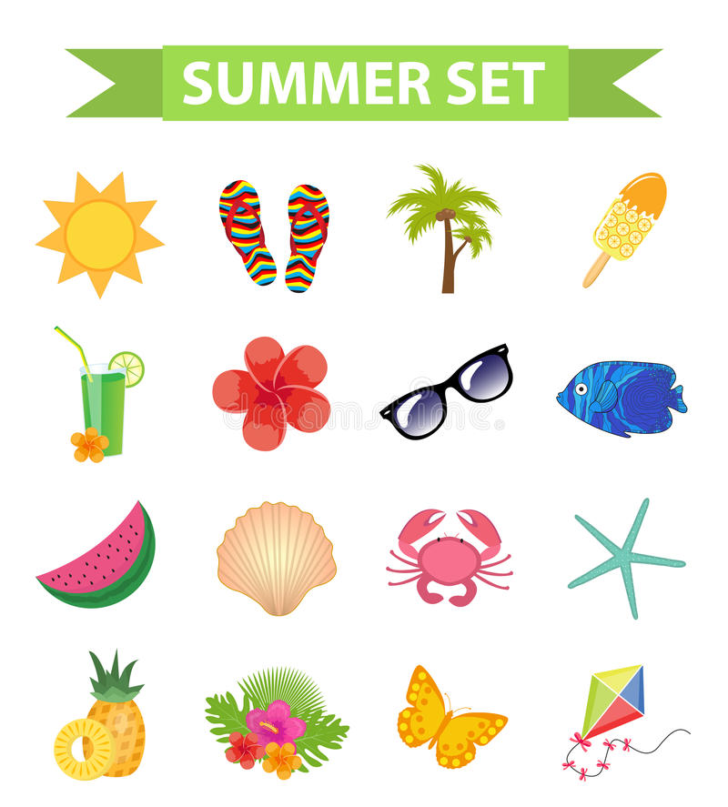 你好夏天象集合,平,动画片样式 海滩,设计元素的假期汇集 背景查出的白色 库存例证