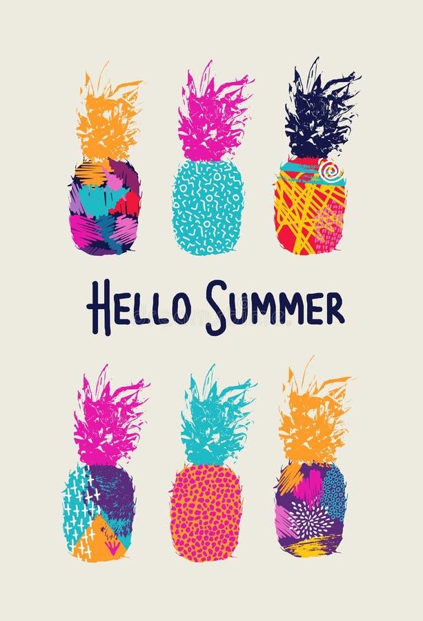 你好夏天颜色在80s样式的菠萝设计 向量例证
