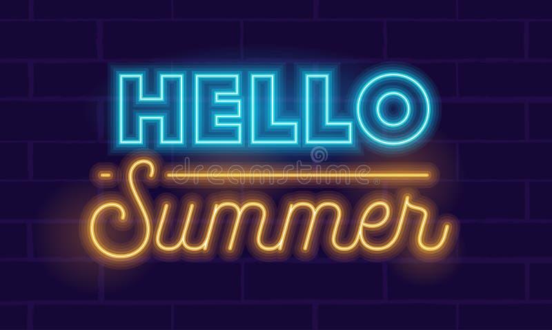 你好夏天高度详述了在深蓝背景的现实霓虹发光的印刷术 横幅,飞行物,夏令时的海报 皇族释放例证