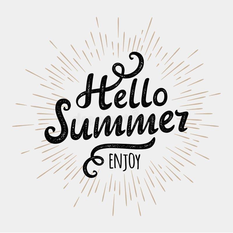 你好夏天,在葡萄酒单色太阳背景的印刷题字 也corel凹道例证向量 库存例证