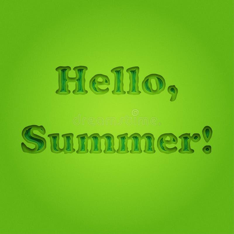 你好夏天,在葡萄酒单色绿色背景的印刷题字 夏天海报,背景,横幅 穿蓝衣的男孩服务台女孩查找海运坐的冲浪 库存例证