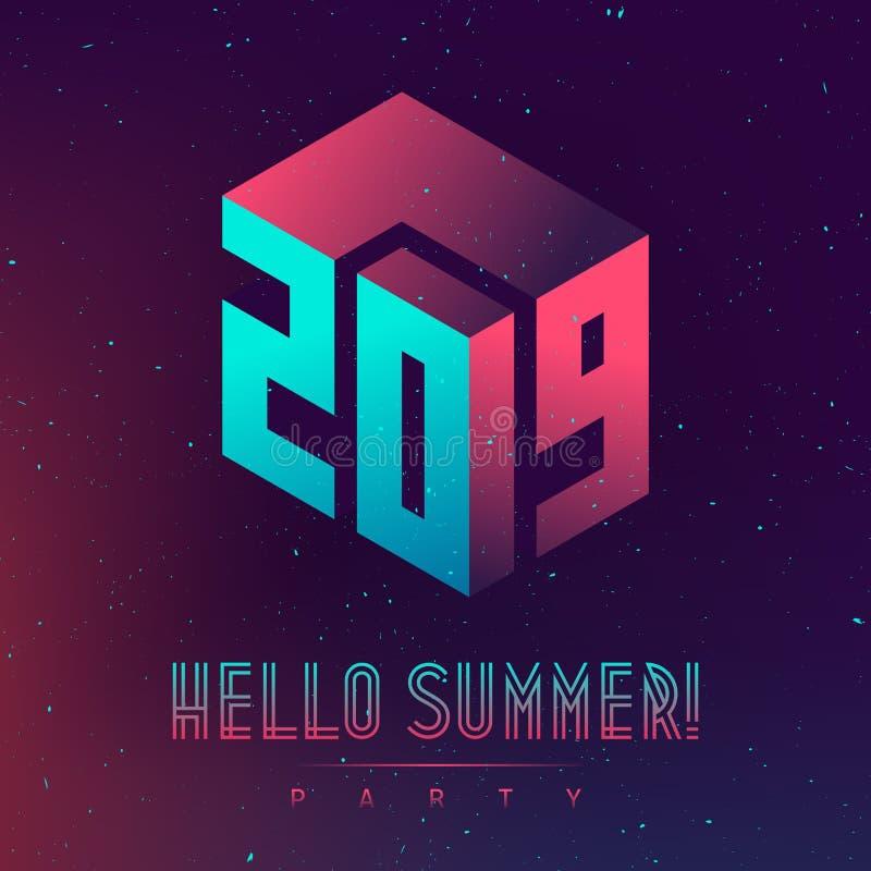 你好夏天,2019党 与抽象元素和梯度的未来派设计海报 可适用为盖子,招贴,音乐 库存例证