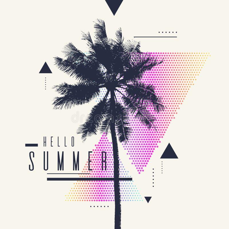你好夏天 与棕榈树和几何图表的现代海报 皇族释放例证