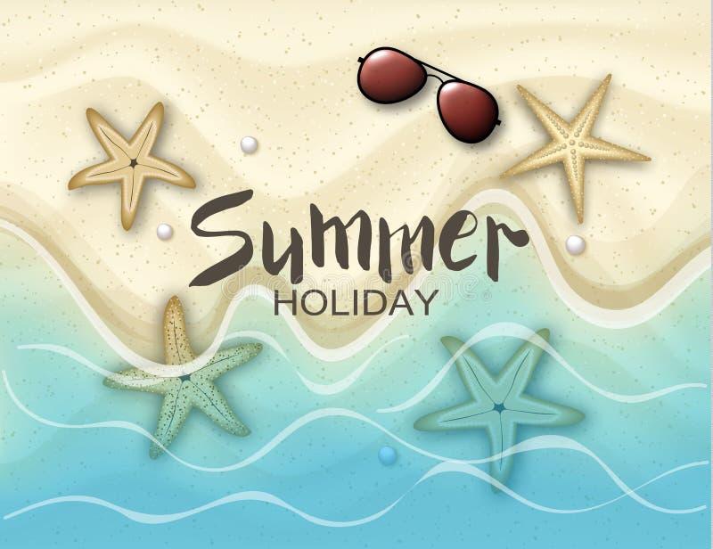 你好夏天 与海星和太阳镜的背景在沙子 海洋和波浪 传染媒介例证EPS 10格式 皇族释放例证