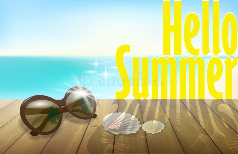 你好夏天晴朗的海滩背景模板 蓝色海海洋天空 木板条太阳镜贝壳 假期3d现实detaile 库存例证