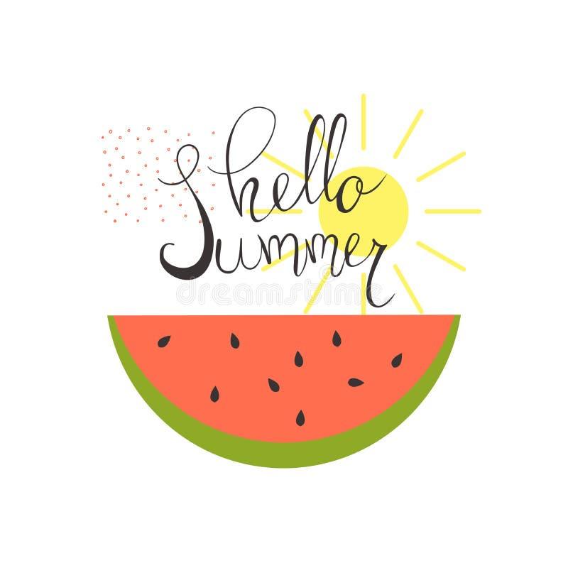 你好夏天 西瓜和太阳 也corel凹道例证向量 向量例证