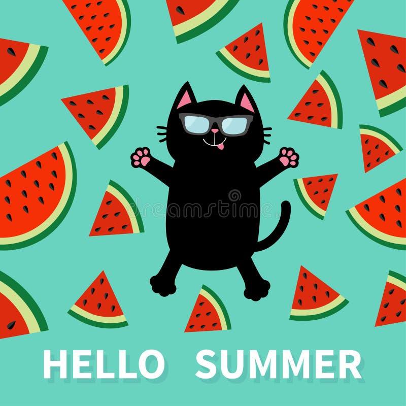 你好夏天 跳跃或做雪天使的恶意嘘声佩带的太阳镜 西瓜切片与种子三角果子裁减的象裁减 C 向量例证