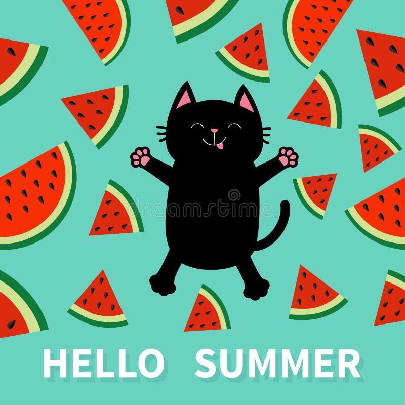 你好夏天 跳跃或做雪天使的恶意嘘声 西瓜切片与种子三角果子裁减的象裁减 逗人喜爱的动画片charact 皇族释放例证